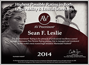 AV Badge - Sean F. Leslie - Highest Possible Rating in Legal Ability & Ethics